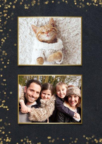 Fotocollage kerstkaart krijtbord met goudlook polaroids 2