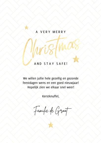 Fotocollage kerstkaart merry christmas met gouden sterren 3