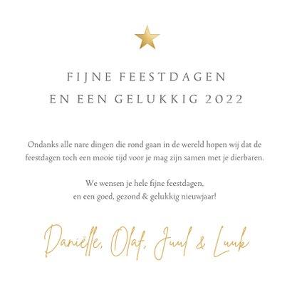 Fotocollage kerstkaart met 4 eigen foto's en gouden ster 3