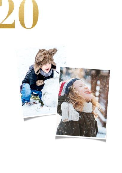 Fotocollage kerstkaart met gouden 2021 2