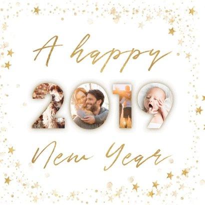 Fotocollage nieuwjaarskaart 2019 goudlook met sterren kader 2
