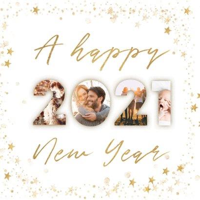 Fotocollage nieuwjaarskaart 2021 goudlook met sterren kader 2