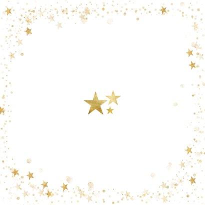 Fotocollage nieuwjaarskaart 2021 goudlook met sterren kader Achterkant