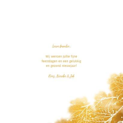 Fotokaart bladeren met gouden waterverf en grote foto 3
