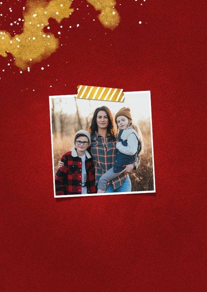 Fotokaart Fijne Feestdagen rood met goud 2