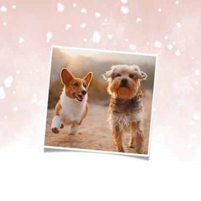 Fotokaart fijne kerst met 3 foto's en waterverf sneeuw 2