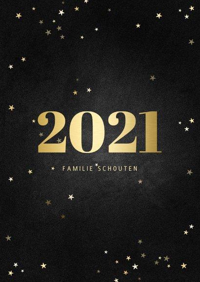 Fotokaart fotocollage met gouden 2021 en sterren 3