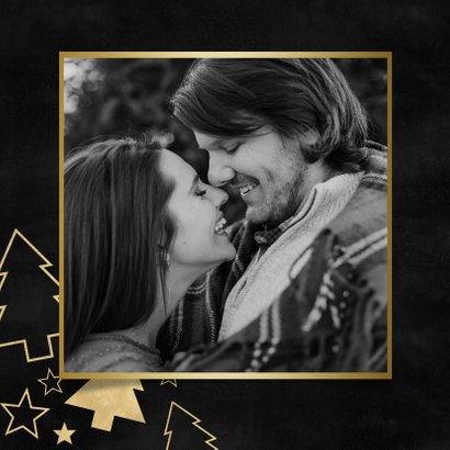 Fotokaart grote foto, gouden kerstbomen en sterren 2