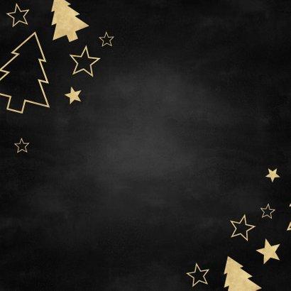Fotokaart grote foto, gouden kerstbomen en sterren Achterkant