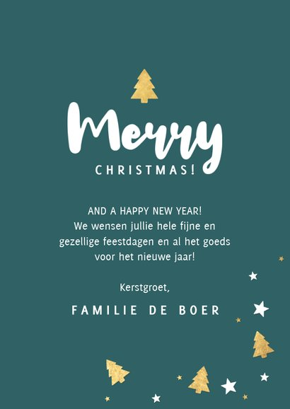Fotokaart grote foto, kerstbomen & Merry Christmas 3