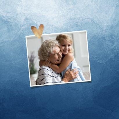Fotokaart ik denk aan je waterverf gouden hartjes 2