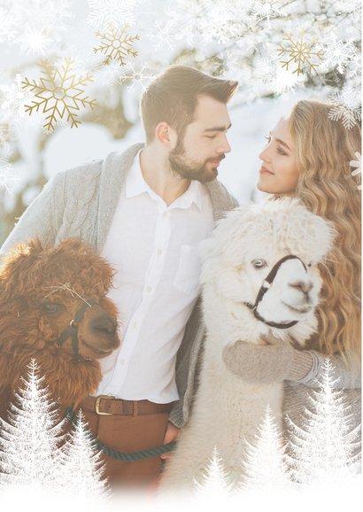 Fotokaart kerst boompjes, sneeuwvlokken en 'Merry Christmas' 2