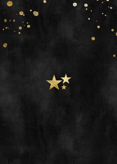 Fotokaart kerst gouden spetters waterverf & fijne feestdagen Achterkant