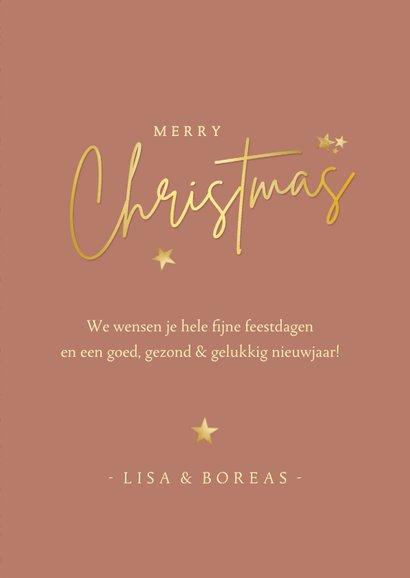 Fotokaart kerstmis in art-deco stijl met roze en goud 3