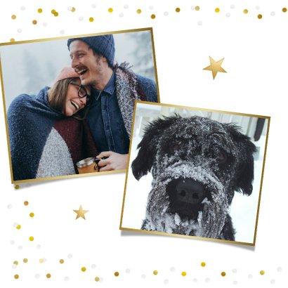 Fotokaart kerstmis met 1 grote foto en confetti kader 2