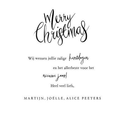 fotokaart merry christmas kalligrafie foto hartjes goud 3