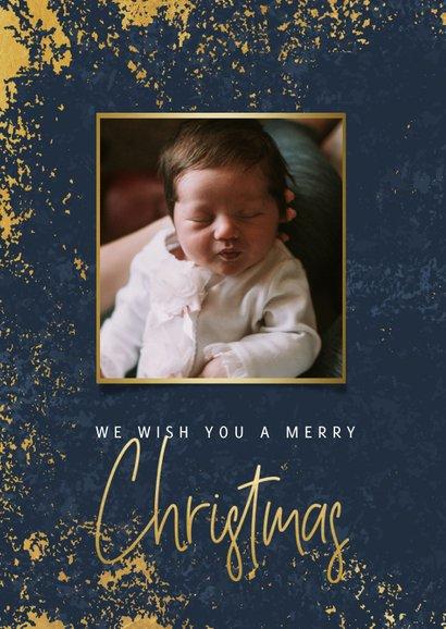 Fotokaart met foto's, gouden kader en Christmas 2