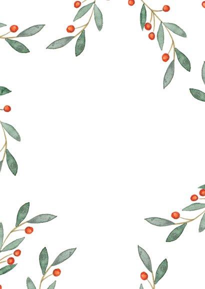 Fotokaart met geschilderde winter bladeren Achterkant