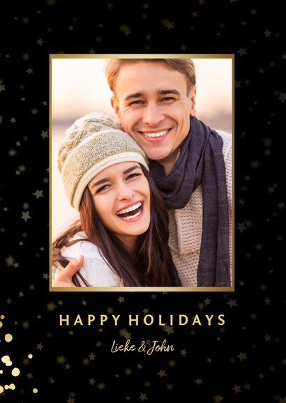 Fotokaart met sterren, foto en gouden confetti 2