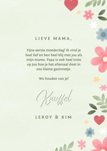 Fotokaart moederdag met bloemen en hartjes 3