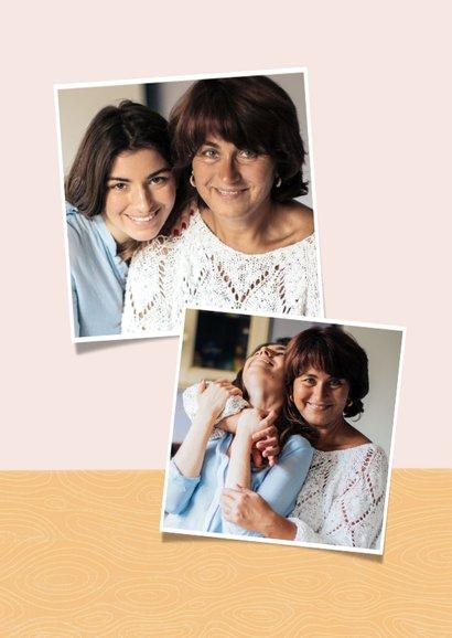 Fotokaart moederdag met bosje bloemen in vaas en hartje 2
