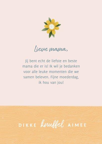 Fotokaart moederdag met bosje bloemen in vaas en hartje 3