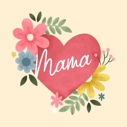 Fotokaart moederdag met hartje, bloemen en takjes 2