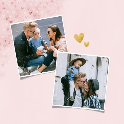 Fotokaart moederdag met hartjes, waterverf Love you! 2