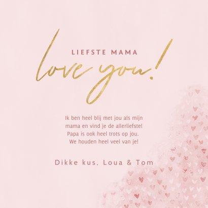 Fotokaart moederdag met hartjes, waterverf Love you! 3