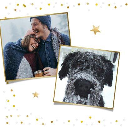 Fotokaart nieuwjaar met 1 grote foto en confetti kader 2