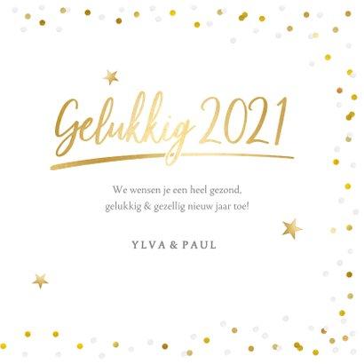 Fotokaart nieuwjaar met 1 grote foto en confetti kader 3