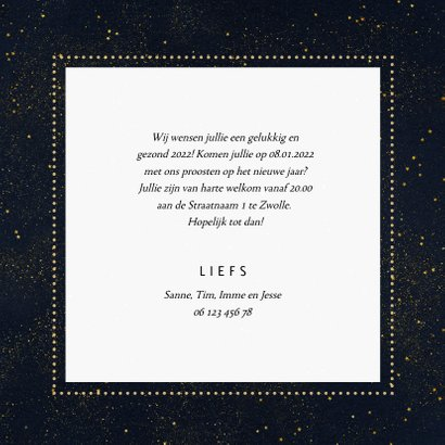 Fotokaart nieuwjaar sterren met sierlijke letters 3