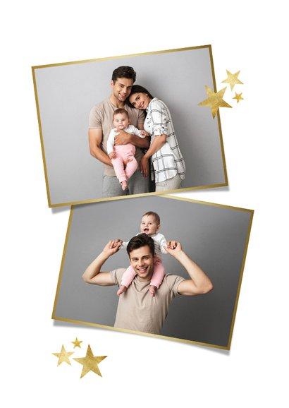 Fotokaart stijlvol sterren merry christmas foto goud 2