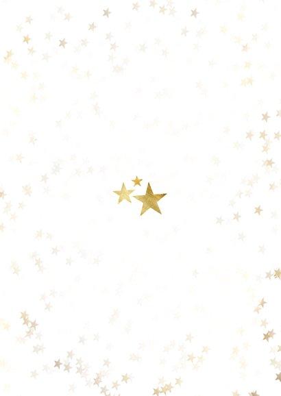 Fotokaart stijlvol sterren merry christmas foto goud Achterkant