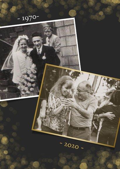 Fotokaart uitnodiging feestje gouden confetti en grote foto 2