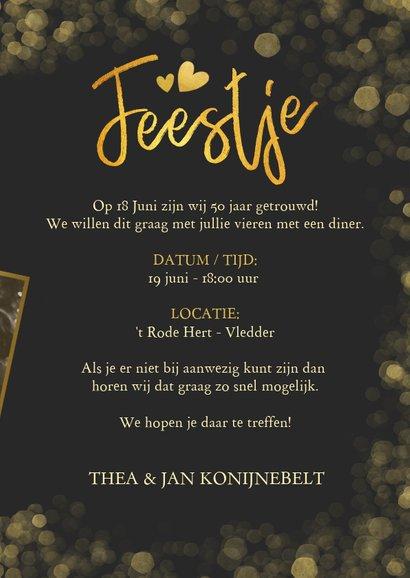 Fotokaart uitnodiging feestje gouden confetti en grote foto 3