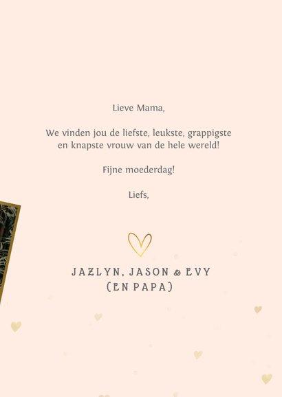 Fotokaart voor moederdag met grote foto en gouden hartjes 3