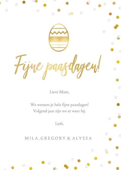 Fotokaart vrolijk Pasen met 1 grote foto en confetti 3