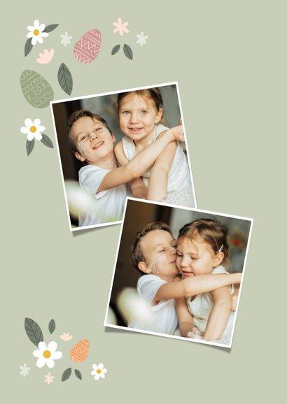 Fotokaart vrolijk pasen met bloementjes en paaseieren 2