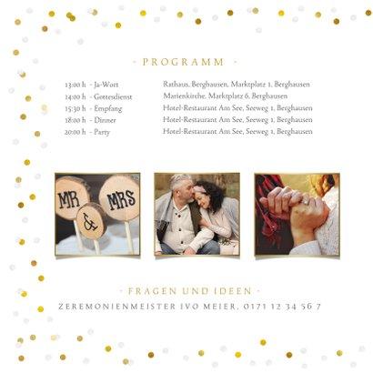 Fotokarte Hochzeitseinladung Goldtext 2