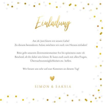 Fotokarte Hochzeitseinladung Goldtext 3