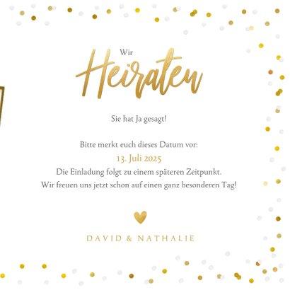 Fotokarte zur Hochzeit Save-the-Date Goldtext 3