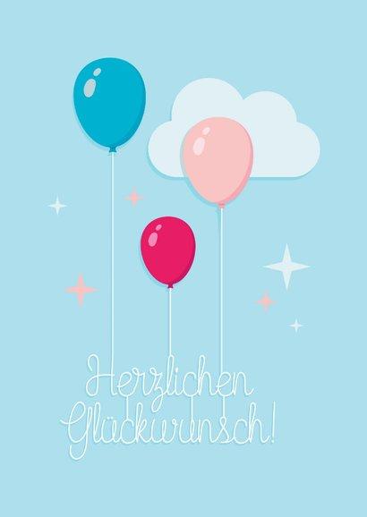 Fröhliche Glückwunschkarte mit Luftballons 2