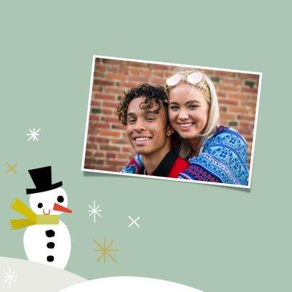Fröhliche Weihnachtskarte Schneemann und Tannenbaum 2