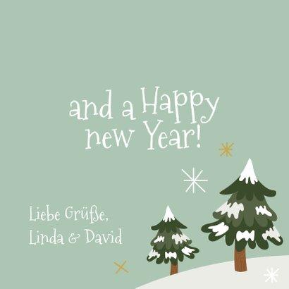 Fröhliche Weihnachtskarte Schneemann und Tannenbaum 3