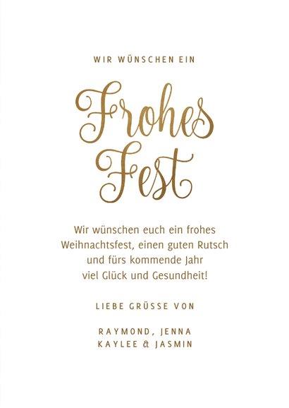 'Frohes Fest' Weihnachtskarte Fotos auf Gold 3