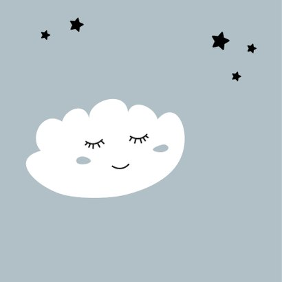 Fryske felicitatiekaart geboorte wolk 2