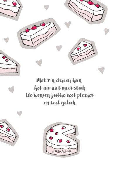 Geboorte felicitatie kaart met meisje in een roze taart 2