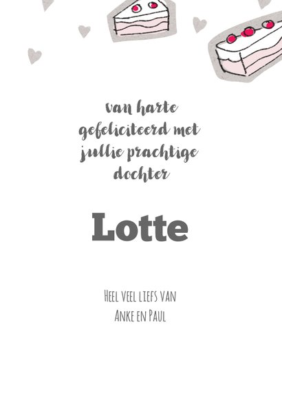 Geboorte felicitatie kaart met meisje in een roze taart 3