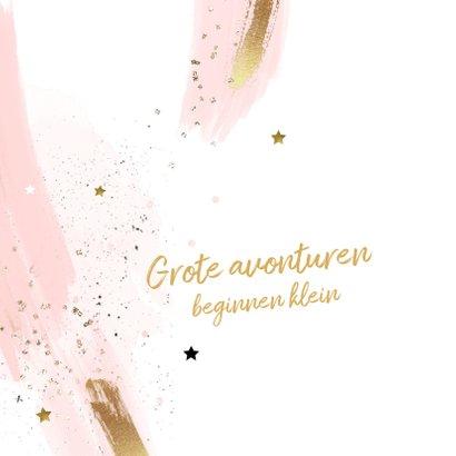 Geboorte felicitatiekaart meisje roze penseel strepen 2